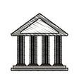 color crayon stripe cartoon skecth parthenon vector image vector image