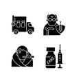 covid19 spread prevention black glyph icons set vector image vector image