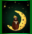 cute cartoon bear with cup sitting on the moon vector image