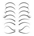 cute cartoon human eyelashes line icons set vector image vector image