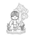 cute little boy in the landscape vector image