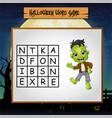 game halloween find the word of frankenstein vector image