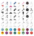 hairdresser and tools cartoon icons in set vector image