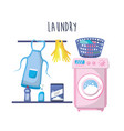 laundry with electrical equipment and domestic job vector image vector image