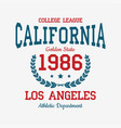 los angeles college typography for t-shirt vector image vector image