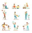 Loving Fathers Playing And Enjoying Good Quality vector image vector image