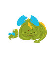 loving mother dragon and her baby cute green vector image vector image
