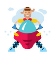 man on snowmobile flat style colorful vector image vector image