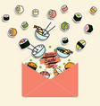 meal rolls sushi set in paper mail envelope vector image vector image