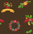 merry christmas and happy new year flat decoration vector image