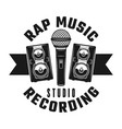 microphone and speakers rap music emblem vector image vector image
