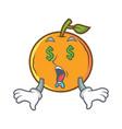 money eye orange fruit cartoon character vector image vector image