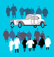 people view a retro car and crowd around it vector image vector image