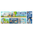 post office mail delivery postman service banners vector image vector image
