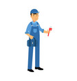 proffesional plumber character in a blue overall vector image vector image