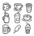 set baverages doodle- hand drawn vector image