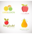 Set of logos for fruit organic company fresh vector image vector image