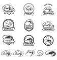 set of shrimp meat emblems fresh seafood design vector image vector image