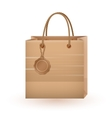 Shopping brown bag with cardboard vintage label vector image