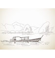 sketch long tail boat vector image vector image