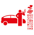 Smoking taxi driver icon with dating bonus