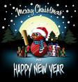 snowman from cricket balls with bat and sparklers vector image