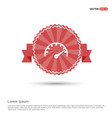 speedometer icon - red ribbon banner vector image