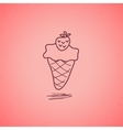 Strawberry ice cream doodle vector image