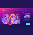 summer ropes course concept landing page vector image