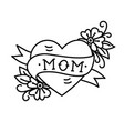 tatoo with mom inscription in heart shape vector image