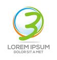 three numbers logo icon vector image