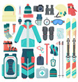 winter skiing equipment icons set travel vector image vector image