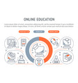 with linear icons online education vector image