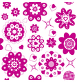 pink flowers and hearts seamless vector image