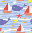 Seamless Pattern with Sea Life Boat Sea Star Whale vector image