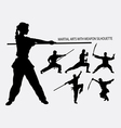 Wushu with weapon martial arts sport silhouette vector image