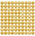 100 guns icons set gold vector image vector image