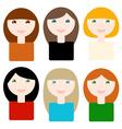 6 different smiling cartoon women vector image vector image