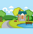 a rural house landscape vector image vector image