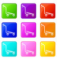 airport trolley icons set 9 color collection vector image vector image