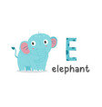 alphabet letter e and elephant vector image vector image