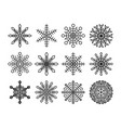 black snowflakes set isolated on white background vector image