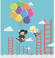business woman holding balloons up in the sky vector image