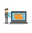 businessman and technology vector image vector image