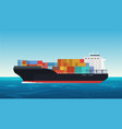 cargo ship with containers in the ocean vector image vector image