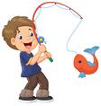 Cartoon Boy fishing vector image vector image