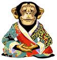 cartoon chimpanzee wearing red kimono vector image vector image