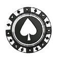casino chip vintage style ace poker game icon vector image vector image