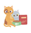 cats make me happy cute kittens with bowl and box vector image vector image
