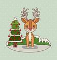 christmas card with christmas tree and reindeer on vector image